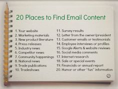 Writer's block? No problem! 20 placs to find email content! #ContentMarketing