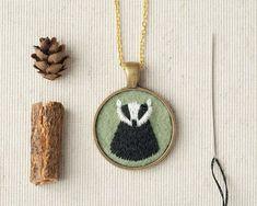 badger jewelry   Badger Necklace - Embroidered Felt Pendant - Woodland Totem Animal ...