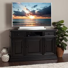 """Vintage Beach Black 55"""" TV Console by Jerome's Furniture"""