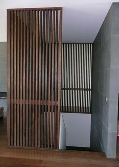 Spotted Gum battens 40 x 40 mm kiln dried and beautifully machined with pencil round edges. Stunning for a feature wall. Timber Stair, Timber Battens, Timber Screens, Timber Walls, Timber Panelling, Timber Feature Wall, Black Feature Wall, Wood Partition, Casa Cook