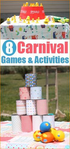 8 Carnival Games.  Carnival party games for all ages.  Both boys and girls will love these carnival themed games.  Great for a birthday party, neighborhood party or school carnival.