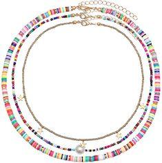 Chunky Silver Necklace, Layered Choker Necklace, Seed Bead Necklace, Boho Necklace, Boho Jewelry, Beaded Jewelry, Jewelry Necklaces, Jewellery Diy, Clay Beads