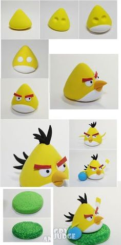jpg tutoriel tous perso angry birds en fimo (How To Make Cake Figures) Gâteau Angry Birds, Torta Angry Birds, Fondant Figures, Clay Figures, Fondant Animals, Clay Animals, Decors Pate A Sucre, Crea Fimo, Bird Party
