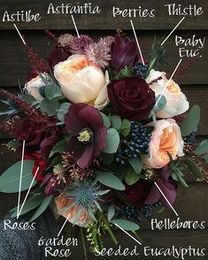 Breakdown: Bold Burgundy and Soft Peach Burgundy and Peach Bridal Bouquet Breakdown! - Burgundy and Peach Bridal Bouquet Breakdown! Autumn Bride, Deco Floral, Floral Wedding, Elegant Wedding, Wedding Planning, Burgundy Color, Burgundy Flowers, Burgundy Bouquet, Fall Flowers