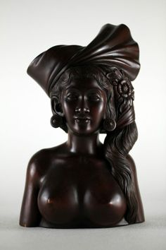 SIGNED Indonesian Bali Carved Wood Sculpture Woman Bust Nude