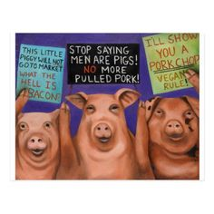 Pigs On Strike Postcard - vegan personalize diy customize unique