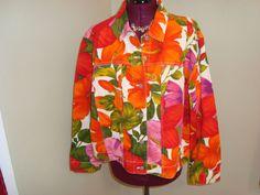 Chico's Sz 3 ( 14/16 L) Women's Floral Denim 100% Cotton Jacket Brass Buttons  #Chicos #BasicJacket