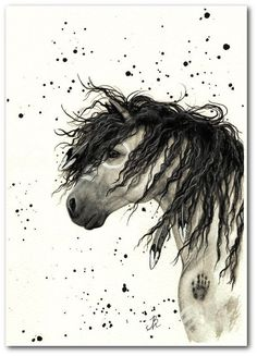 Native American Horse Painting   Mustang Curly Horses Native American Feathers by ...   Art Animals