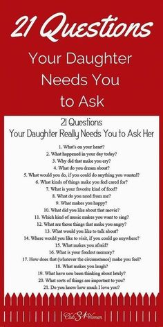 21 Questions Your Daughter Really Needs You to Ask Her Babypflege-Tipps in Telugu # ★ Erziehung ★ Source by . 21 Questions, This Or That Questions, Dating Questions, Couple Questions, Parenting Advice, Kids And Parenting, Peaceful Parenting, Parenting Classes, Natural Parenting