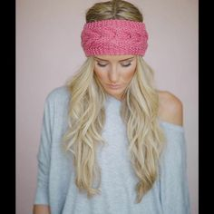 Cable Knit headband Crochet Ear Warmer wrap New New Women pink Crochet Headband cable Knit Ear Warmer Head wrap. One size fits all. Accessories Hats