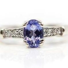 White Gold Solitaire Tanzanite And Diamond Accent Ring - Sz Pretty Engagement Rings, Sapphire, White Gold, Diamond, Ebay, Jewelry, Fitness, Style, Ring
