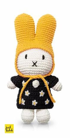 Miffy Crochet Doll With Yellow Hat and Mono Floral Dress - Just-Dutch
