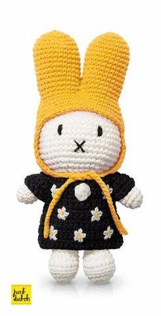 Miffy Crochet Doll With Yellow Hat and Mono Floral Dress - Just-Dutch Diy Crochet Amigurumi, Crochet Toys, Crochet Baby, Handmade Headbands, Diy Headband, Mono Floral, Baby Presents, Miffy, Knitted Dolls