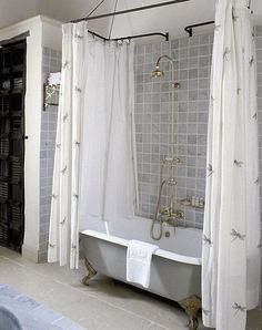 VINTAGE SHOWER CURTAIN IDEAS