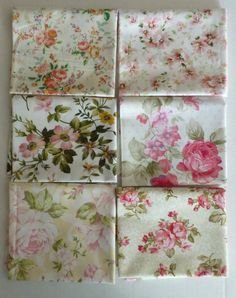 Cotton Fabric,Shabby Chic Roses, Quilt,Home Decor, Fat Quarter Bundle of 6,Group #2,FQ189, Fast Shipping