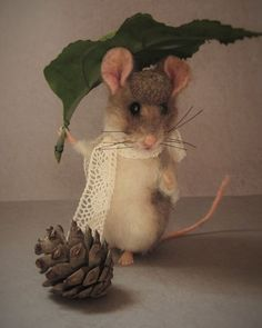 Needle Felted Cute Fall Hiking Leaf Field Mouse by Artist Robin Joy Andreae   #NeedleFeltedAnimals