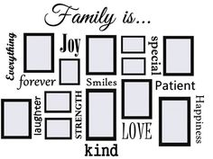 Family Is.Vinyl Wall Quote Decal Collage - Works Great with Picture Frames Picture Frame Crafts, Picture Wall, Picture Frames, Family Wall Decor, Tv Wall Decor, Tv Wanddekor, Family Pictures On Wall, Vinyl Wall Quotes, Vinyl Art