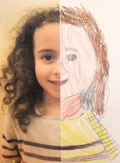 Half Self-Portraits Project by Hannah's Art Club. - Art is a Way Paint, omakuva Club D'art, Classe D'art, Ecole Art, Preschool Art, All About Me Preschool Theme, Preschool Curriculum, Homeschooling, Art Classroom, Kindergarten Classroom