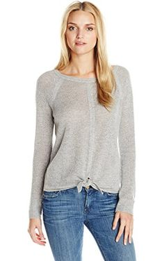 Splendid Women's Tie Front Cashmere Blend Sweater, Light Heather Grey, Small ❤ Splendid Women's Collection