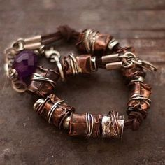 Eve lompe Cobalt Blue jewelry author- copper and silver beads on leather