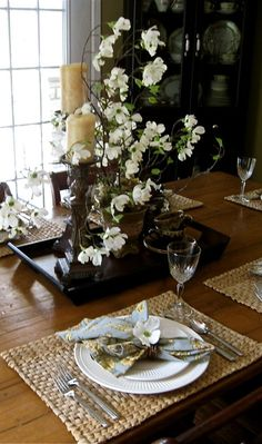Far Above Rubies: Nature-inspired Dogwood setting. Mikasa Italian Countryside, Square Plates, Inspiration Boards, So Little Time, Neutral Colors, Really Cool Stuff, Something To Do, Table Settings