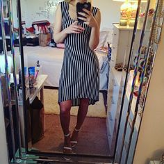 Black & White Stripe High-Low Dress  Very soft, stretches. In good condition. Tag is washed off. Good for S or M. Poetry Dresses High Low