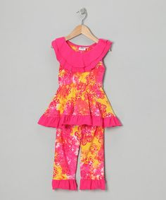Take a look at this Pink Flower Tunic & Capri Leggings - Infant, Toddler & Girls on zulily today!