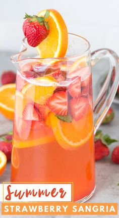 Homemade strawberry sangria is fruity, refreshing and made with only 7 ingredients! Gather up the juiciest strawberries, white wine, and a few other ingredients because you'll want to make sangria punch whenever warm weather hits! Summer Sangria, Summer Drinks, Cocktail Drinks, Fun Drinks, Summer Punch, Beverages, Bourbon Drinks, Strawberry Sangria, Strawberry Summer