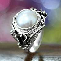 Shop for Nest Of Lilies Handmade Artisan Fashion Accessory Vintage Flower Sterling Silver White Pearl Gemstone Jewelry Ring. Get free delivery On EVERYTHING* Overstock - Your Online Jewelry Destination! Pearl Gemstone, Pearl Ring, Pearl Jewelry, Gemstone Jewelry, Jewelry Rings, Silver Jewelry, Silver Rings, Bali Jewelry, Cross Jewelry