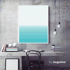 Sea Print Geometric Wall Art Seascape Poster Blue Green