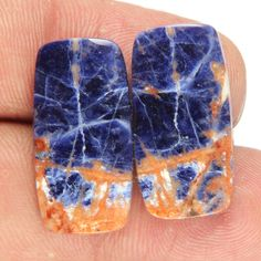 23.85 Cts Natural Sodalite Rectangle Shape 22x14x3 Earring Pair Loose Gemstones #BhagwatiJewels