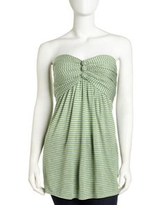 Strapless Striped Top, Green/Gray by BCBG. Summer top!