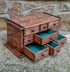 wood jewelry box , rustic wood watch box reclaimed wood handmade in Italy Jewellery Storage, Jewelry Organization, Storage Organization, Into The Woods, Wood Drawers, Wood Plans, Wooden Box Plans, Wooden Jewelry Boxes, Jewelry Armoire