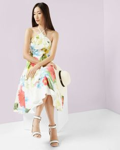 Forget Me Not halter neck dress - White   Dresses   Ted Baker