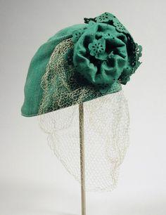 Hat: ca. 1935, American, wool felt, silk veil.  | LACMA Collections
