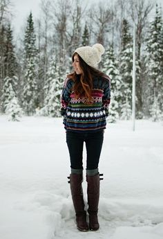 Winter Print Knit...boots, winter fall outfit