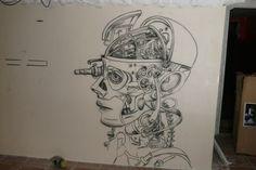 Artystyczne malowanie ścian, malarstwo dekoracyjne, mural, malowidła 3D, fresk, pokoje dziecięce: Klub Arctica Płock, mural UV