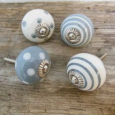 Grey Spots & Stripes Ceramic Cupboard Knob