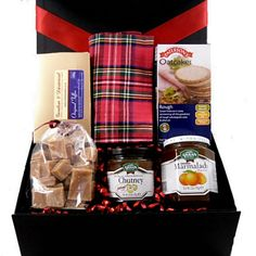 "This lovely ""Scottish treats"" gift box hamper comes filled with some quality and luxury Scottish produce. Includes oatcakes, marmalade, chutney and delicious Scottish sweet delights. Perfect gift for food lovers Scotland Food And Drink, English Food, Marmalade, Food Festival, Root Beer, Chutney, Irish, Hamper Ideas, Gift Wrapping"