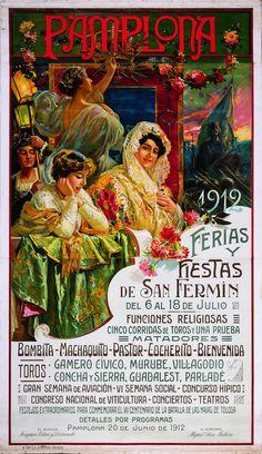 Cartel de los Sanfermines de 1912 - Ferias y fiestas de San Fermín, Pamplona :: Autor: Juan García de Lara. #Pamplona