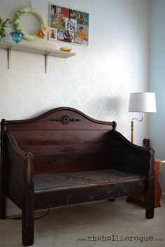 turn antique bed frame into diy Bed Frame Bench, Headboard Benches, Headboards For Beds, Refurbished Furniture, Repurposed Furniture, Furniture Makeover, Handmade Furniture, Furniture Making, Home Furniture