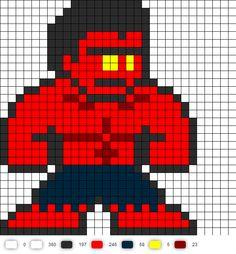 Red Hulk Perler Bead Pattern