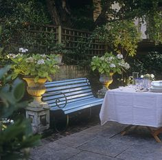 Private dinner outside watching the sun setting while seated on that bench.