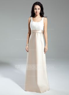 A-Line/Princess Scoop Neck Floor-Length Satin Bridesmaid Dress With Ruffle Bow(s) (007014859) - JJsHouse - $112, choose bodice and skirt color