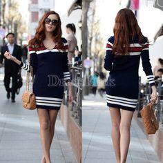 Hot Fashion Women's Lady Winter Fashion Casual Long Sleeve Wool V-Neck Tops Mini Dress