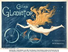 Shop Cycles gladiator,vintage poster,art nouveau,belle shower curtain created by healinglove. Personalize it with photos & text or purchase as is! Vintage French Posters, Art Vintage, Vintage Ads, French Vintage, Vintage Prints, Poster Vintage, Vintage Labels, Vintage Italian, Vintage Travel