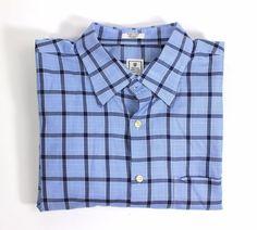Peter Millar Long Sleeve 100% Cotton Blue Navy Checks Casual Oxford Shirt XL #PeterMillar #ButtonFront