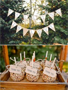 burlap falling in love banner and carmel apple thank you gifts #weddingtreats #weddingfavors #weddingchicks http://www.weddingchicks.com/2014/02/19/michigan-fall-favorites-wedding-inspiration/