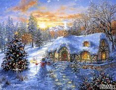 Inspired by the picturesque paintings of Thomas Kinkade, The Christmas Cottage tells the semi-autobiographical tale of how a young boy is propelled to launch a career as an artist after he learns that his mother is in danger of losing the family home. Christmas Scenes, Christmas Mood, Christmas Pictures, Merry Christmas, Christmas Christmas, Thomas Kinkade, Pintura Exterior, Illustration Noel, Illustrations