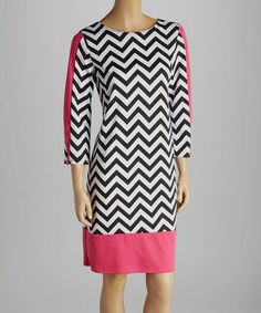 Look what I found on #zulily! Hot Pink & Black Zigzag Three-Quarter Sleeve Dress #zulilyfinds